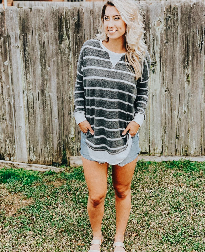 Charcoal Stripe Tunic Top