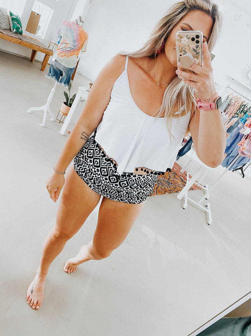 White Pom Swim Top