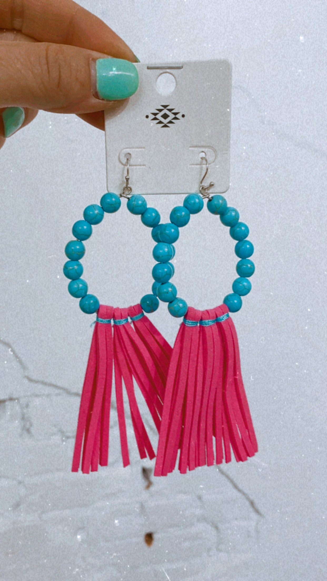 Turquoise Beads & Hot Pink Tassels Earrings