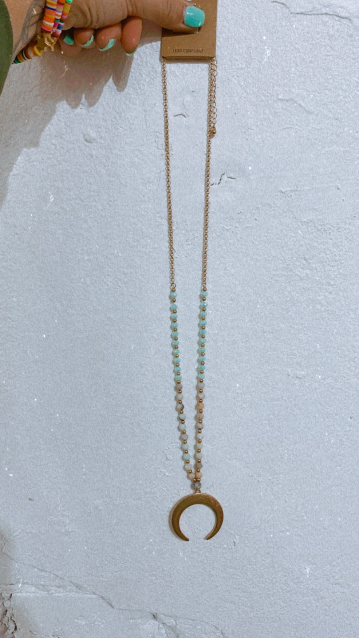 Turquoise Beaded & Horn Necklace