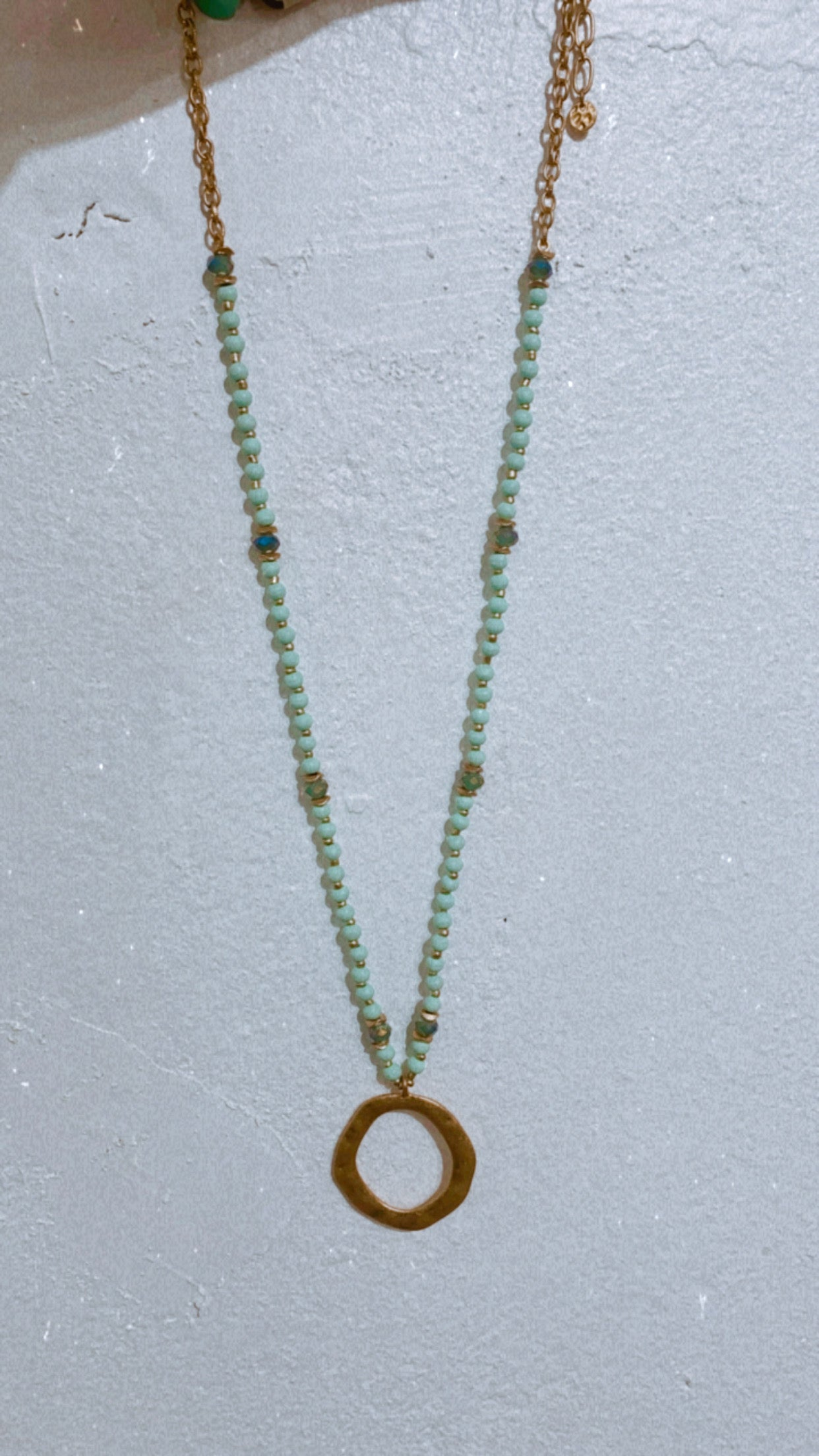 Turquoise Beaded & Hammered Circle Necklace