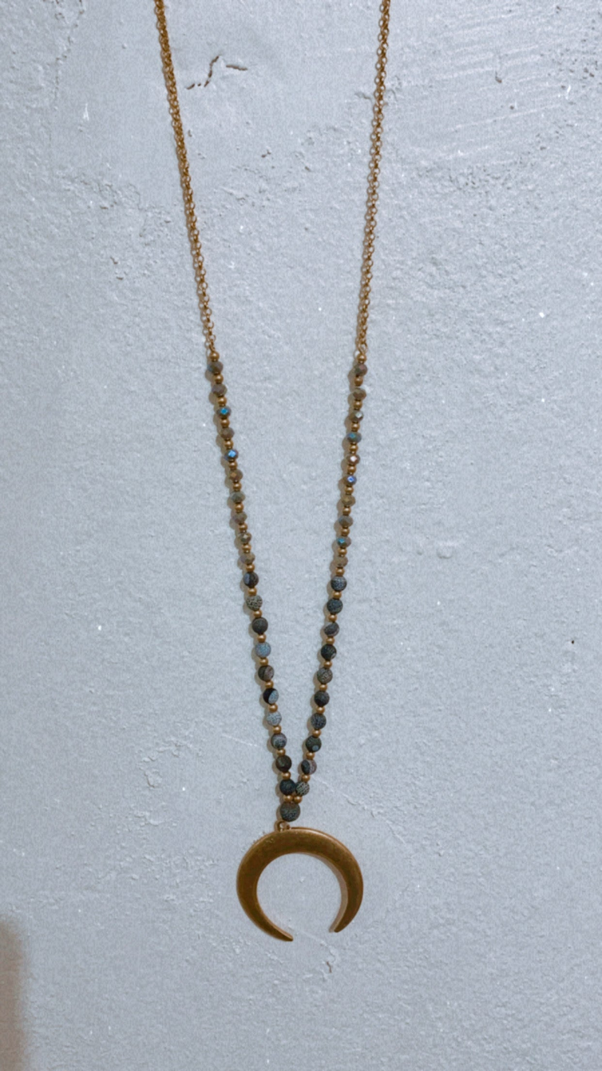 Black Beaded & Horn Necklace