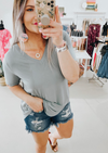 Favorite Basic V-Neck Top Slate