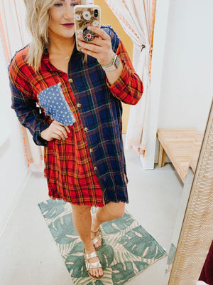 fall flannel dress tunic plus size