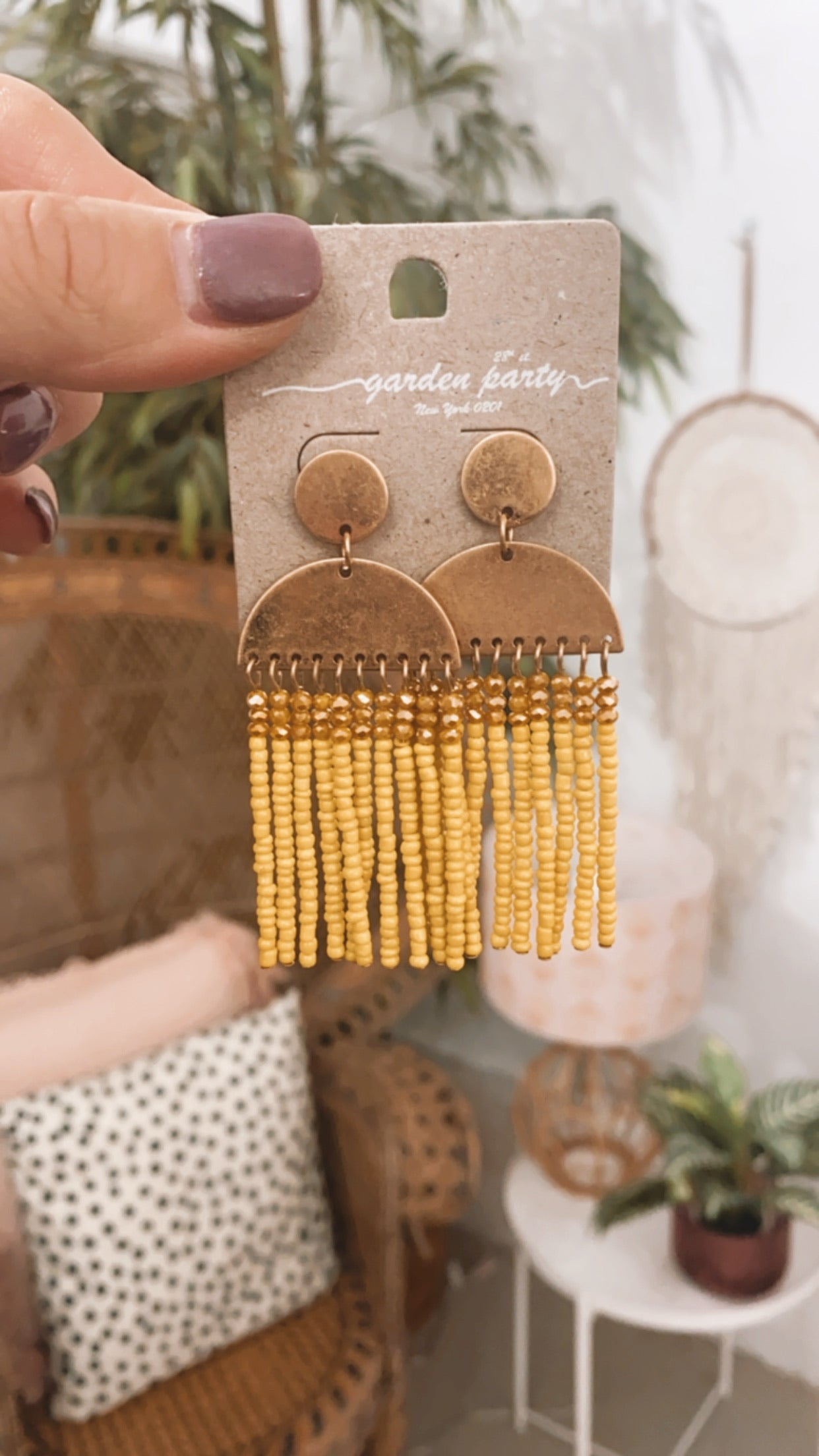 Wedge Yellow Rainbow Earrings