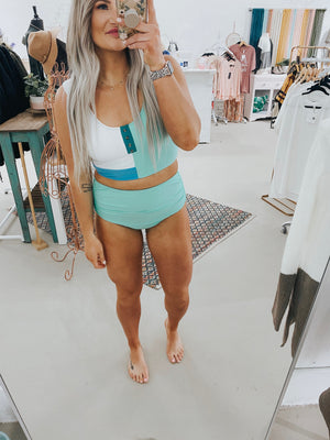 Mint Sassy Colorblock Swim Top