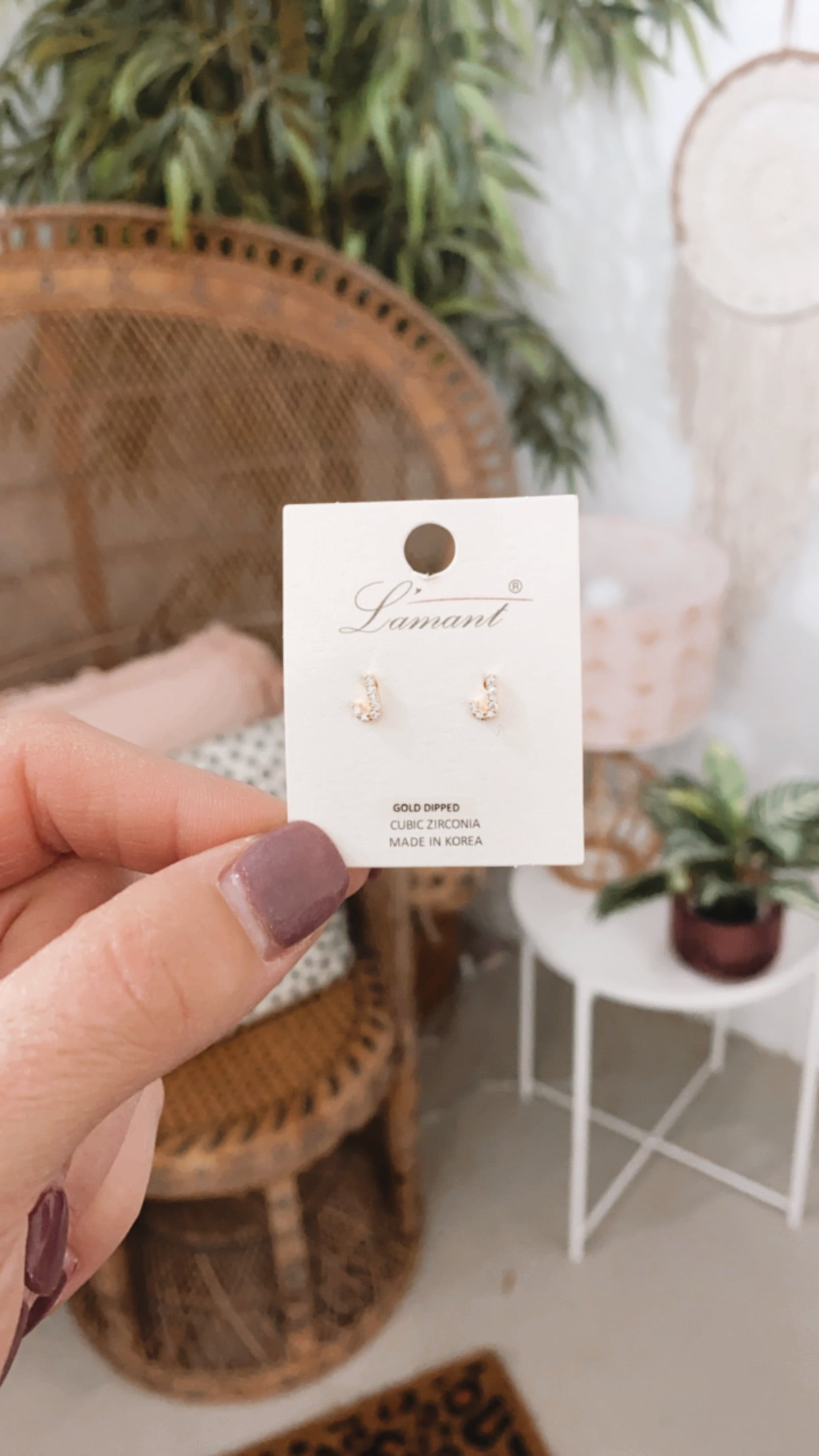 Gold Dainty Initial Stud Earrings
