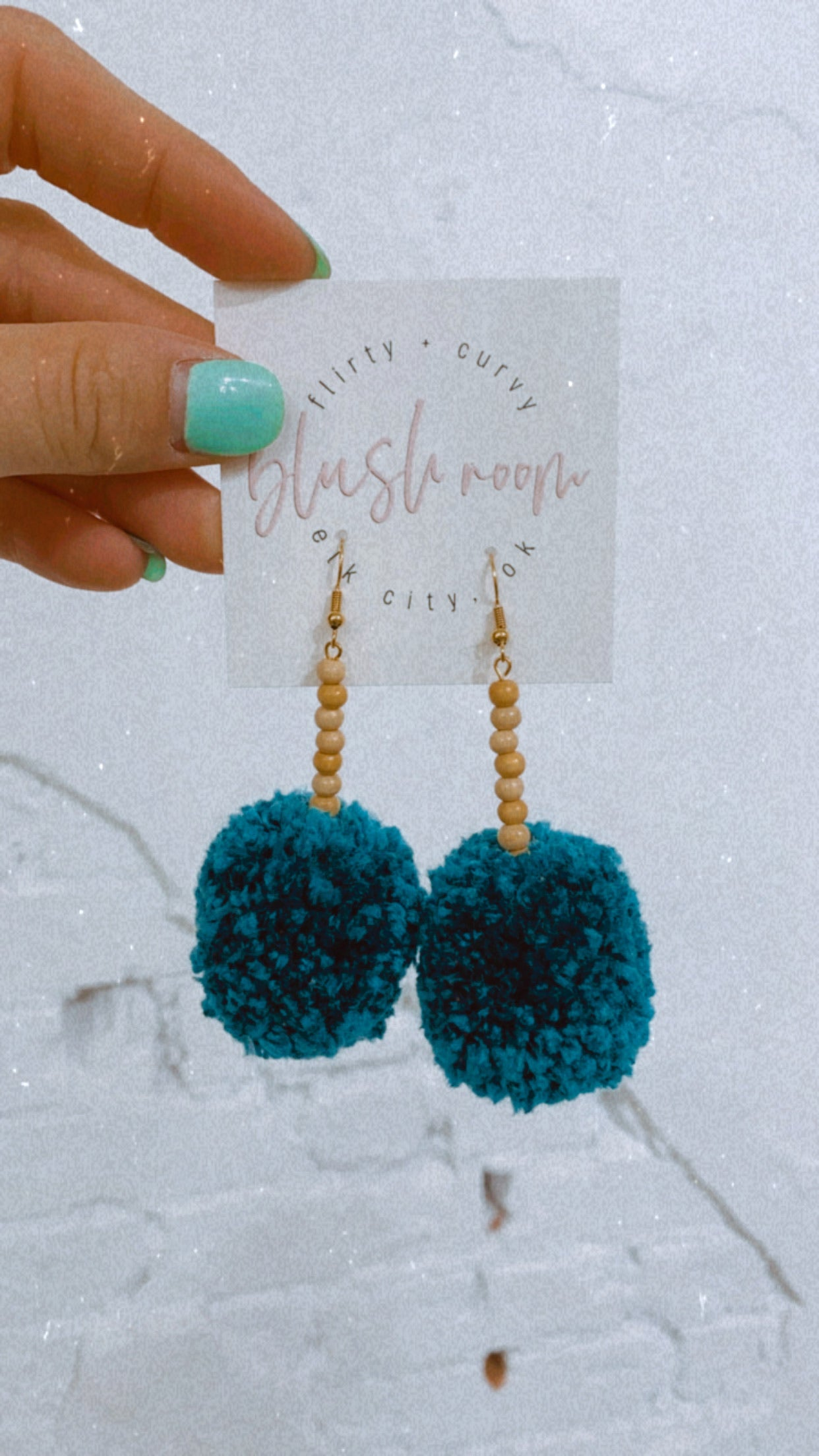 Teal & Wooden Beaded Baby Pom Earrings