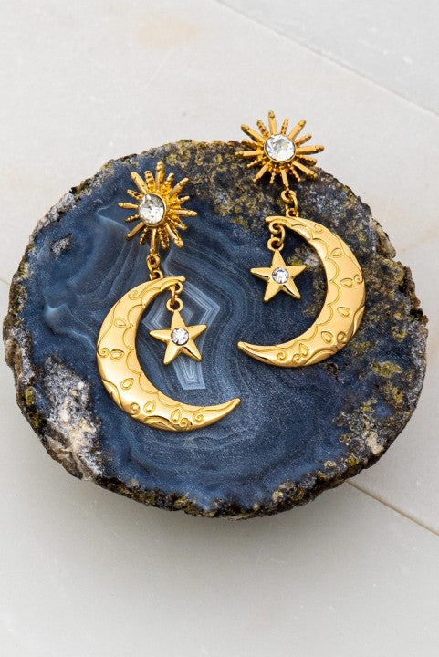 Etched Star & Crescent Moon Earrings