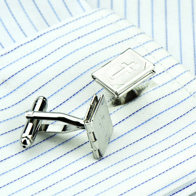 Cross & Bible Locket Cuff Links