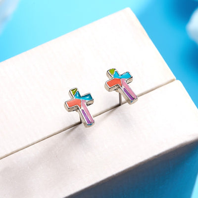 Stained Glass Mosaic Cross Earrings