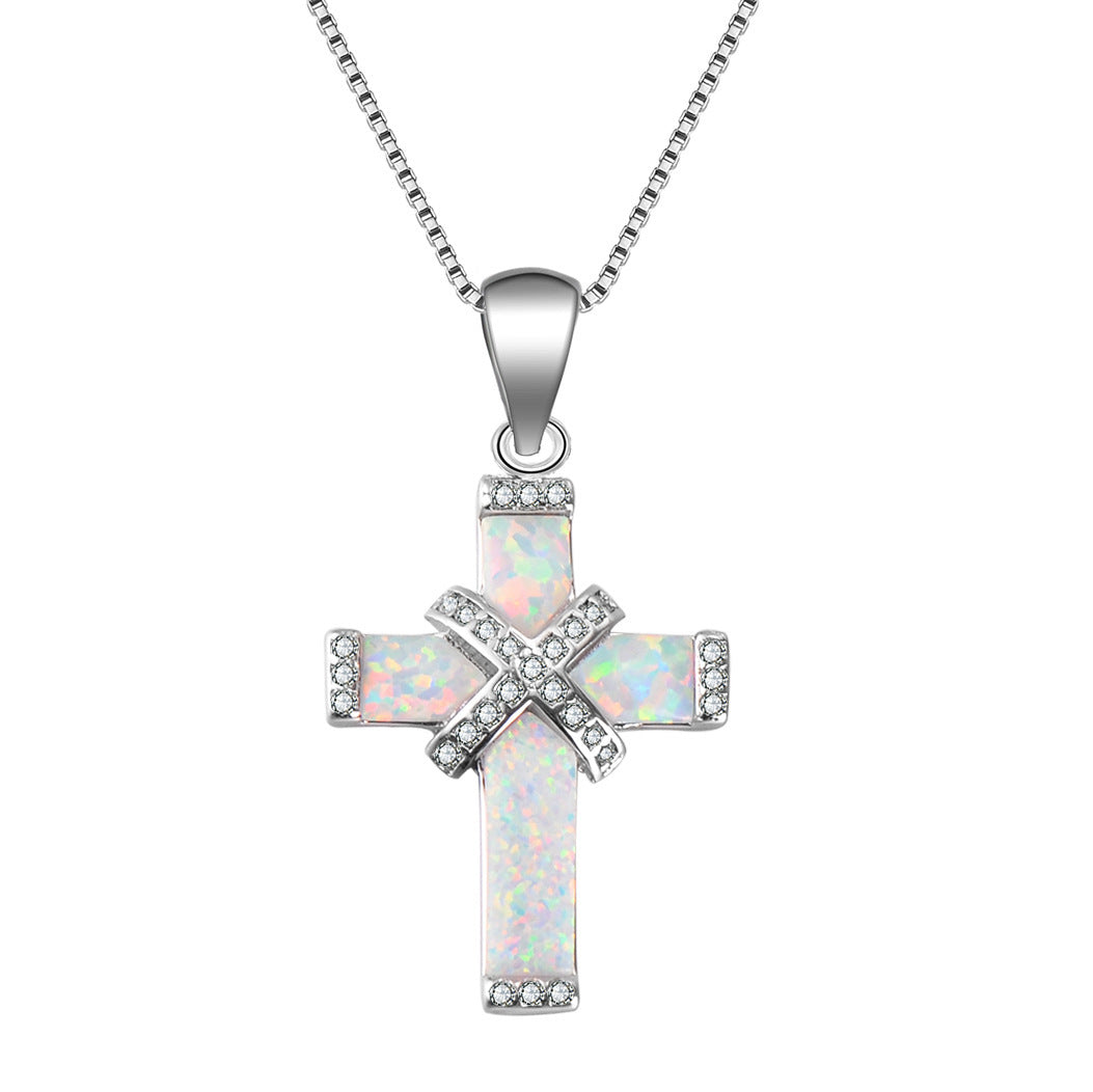 Moonstone Opal Cross