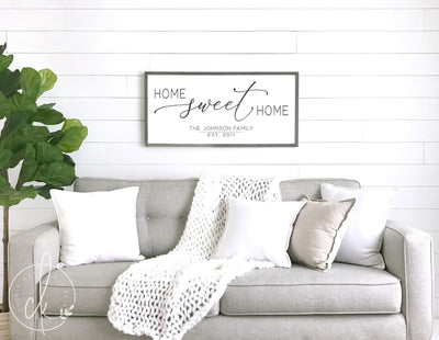 Family name sign - Home Sweet Home - Family Wall Art