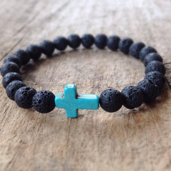 Lava Rock Cross Bracelet