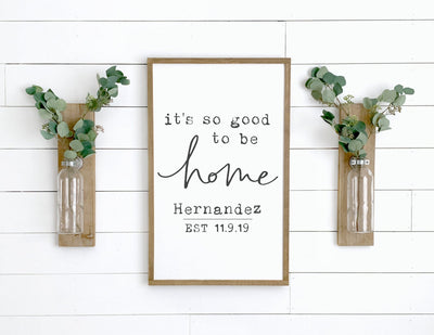 Custom Name Sign - It's So Good To Be Home - Family Wall Art - Vertical