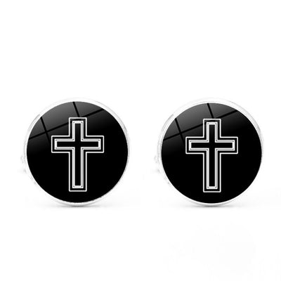 Stainless Button Cross Cuff Links