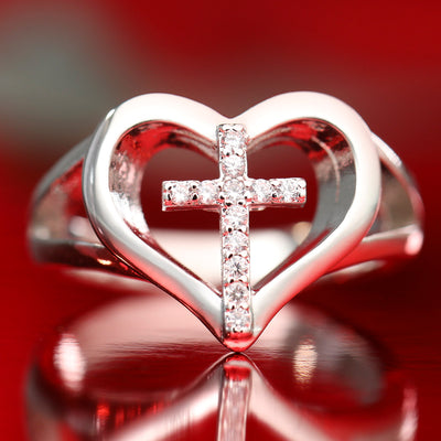 Heart & Cross Ring