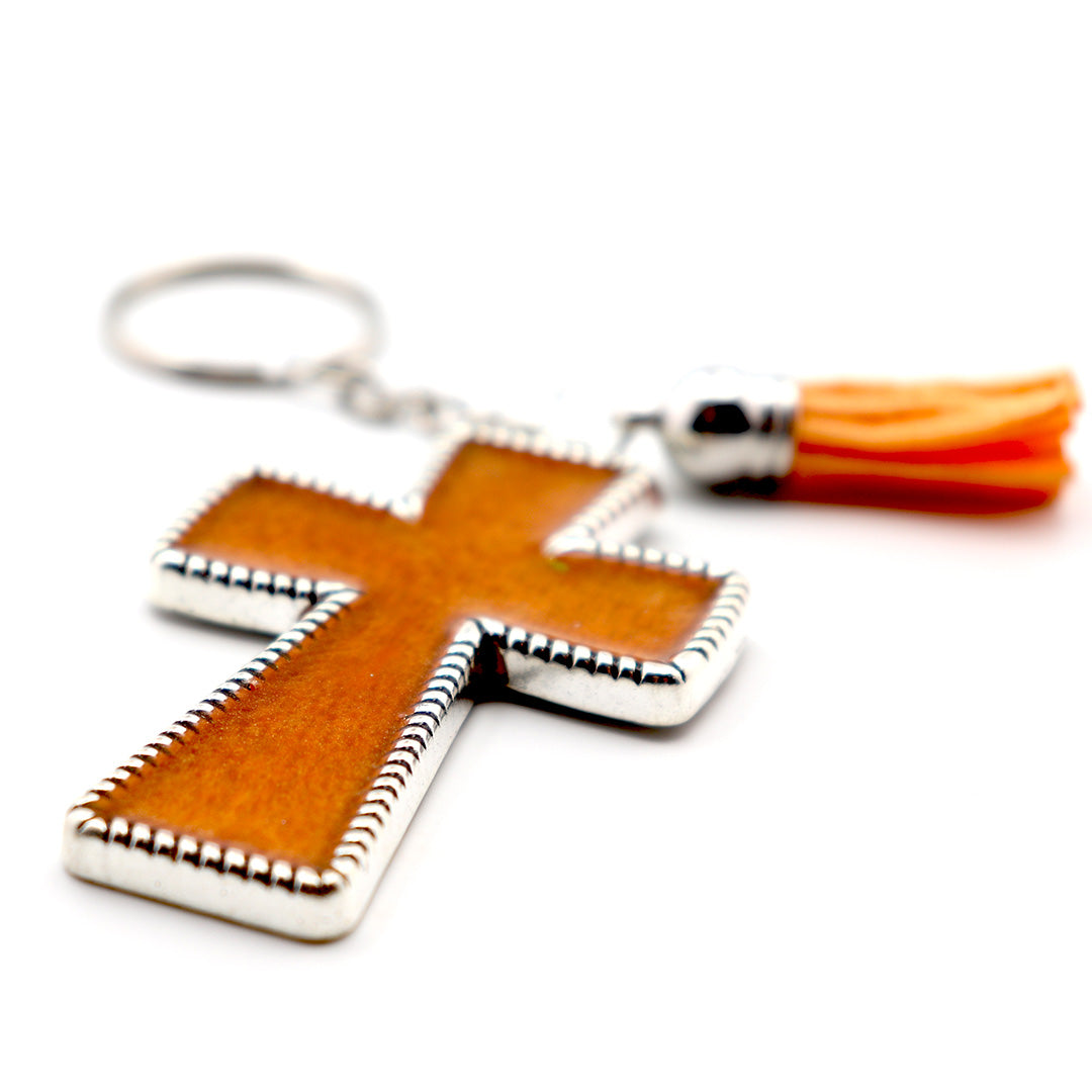 Orange Pearly Tigerstripe Keychain