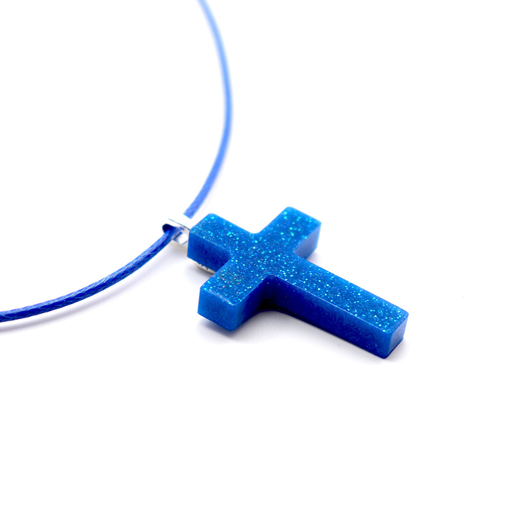 Blue Starry Night Cross - Handmade