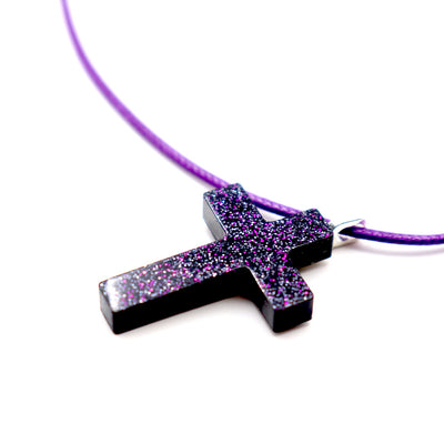 Purple Starry Night Cross - Handmade