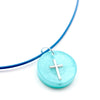 Round Turquoise Floating Cross - Handmade
