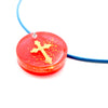 Round Gold & Red Floating Cross - Handmade