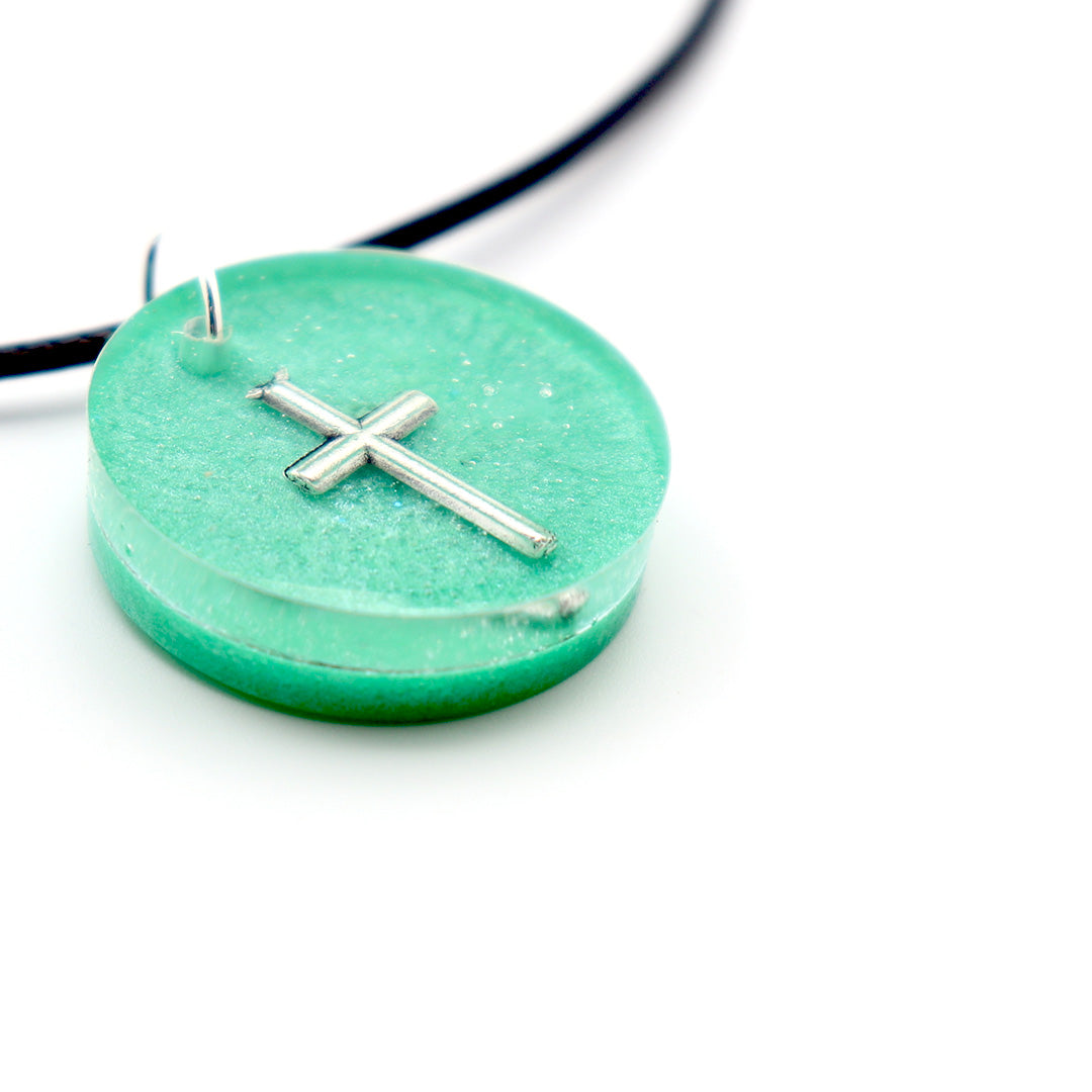 Sea Green Round Floating Cross - Handmade