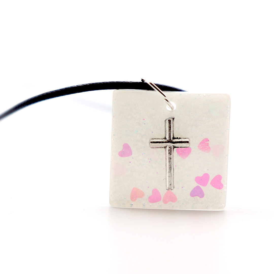 Square White Floating Cross - Handmade