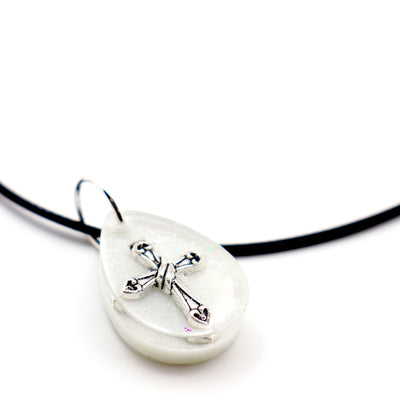 Teardrop White Floating Cross - Handmade
