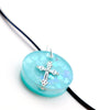 Round Turquoise Floating Heart Cross - Handmade
