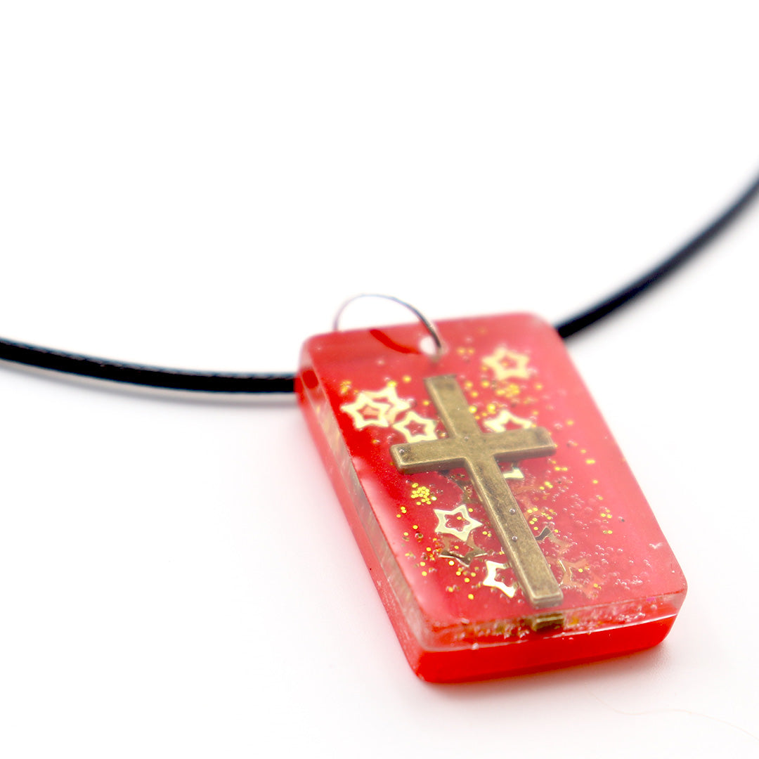 Rectangle Red & Gold Floating Cross - Handmade