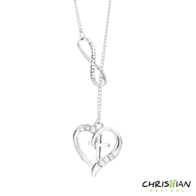 White Gold Infinite Heart Cross Necklace