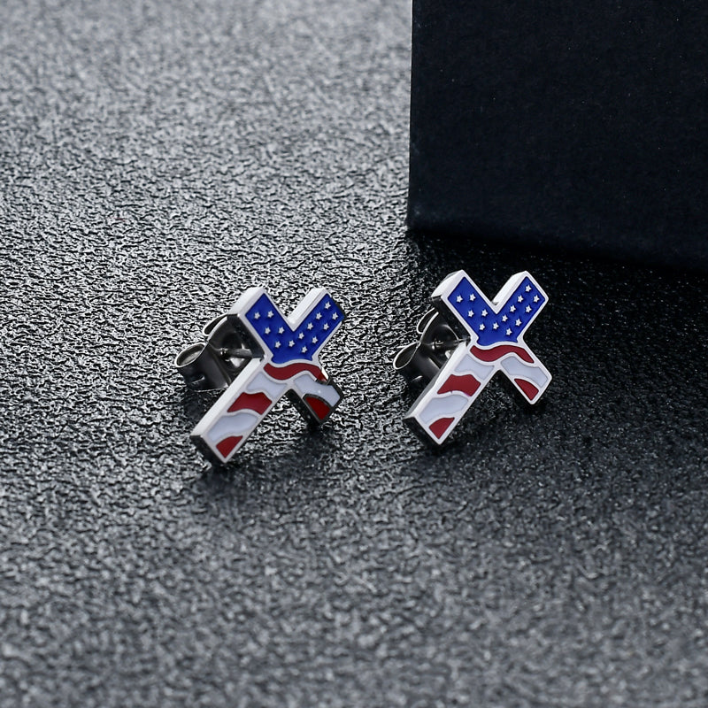 American Flag Cross Earrings