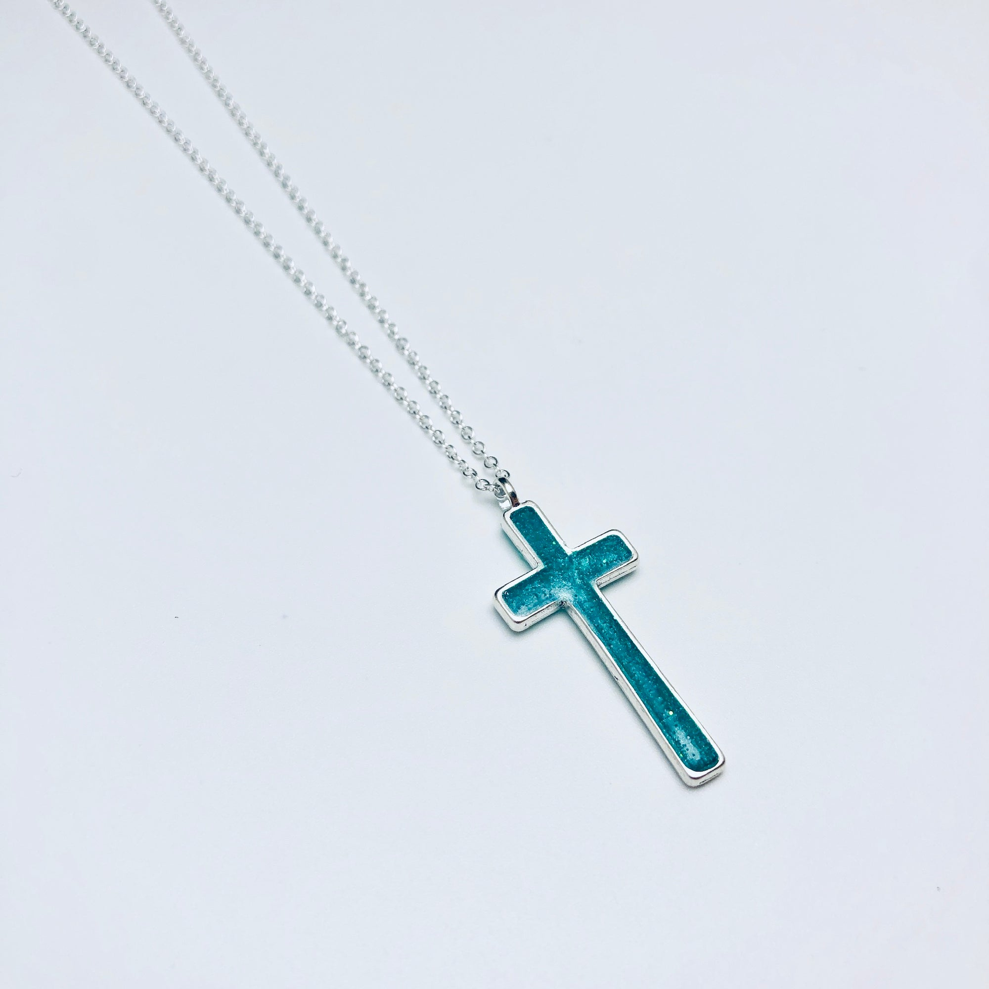 Skinny Pearl Swirl Cross Necklace
