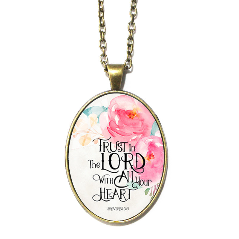 Proverbs 3:5 Oval Pendant