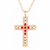 Cross Necklace With Red Gems