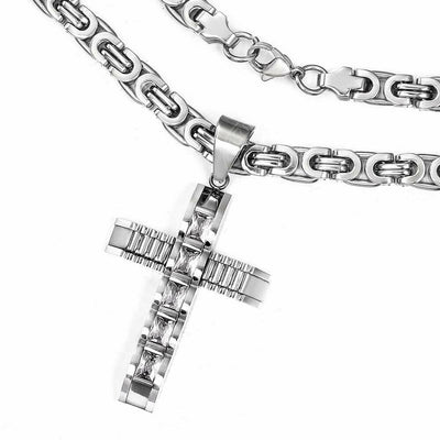 Men's Stainless CZ Cross