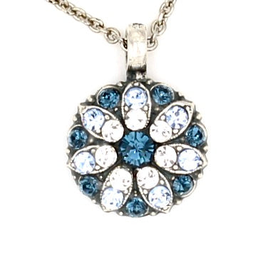 Sapphire and Clear Guardian Angel Necklace