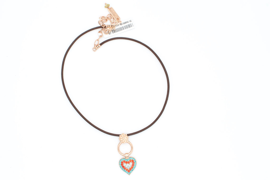 Tinsel Collection Leather Choker with Heart Pendant in Rose Gold