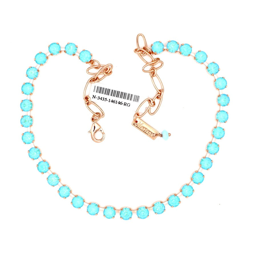 Aqua Sunkissed 7MM Crystal Necklace in Rose Gold
