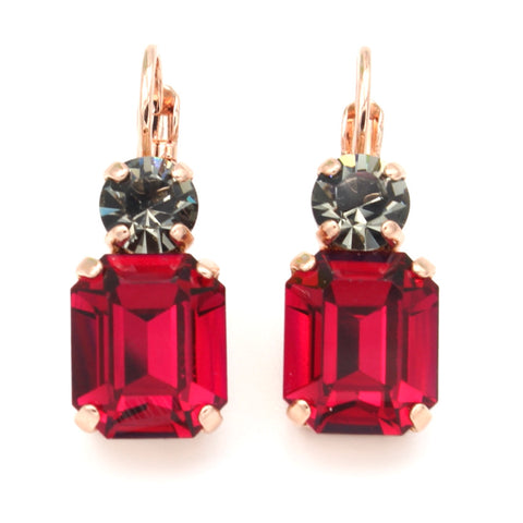 Ruby Rectangular w/accent Crystal Earrings in Rose Gold