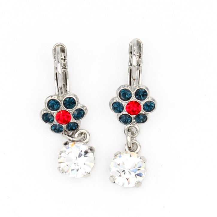Patriot Collection Small Flower Earrings with Crystal Drop