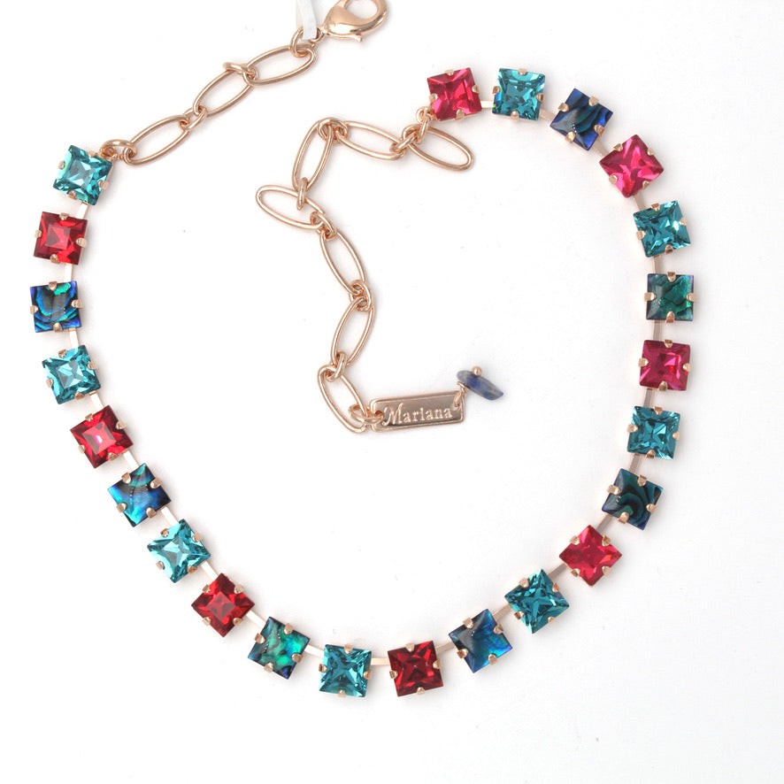 Festive Collection 8MM Square Crystal Necklace in Rose Gold