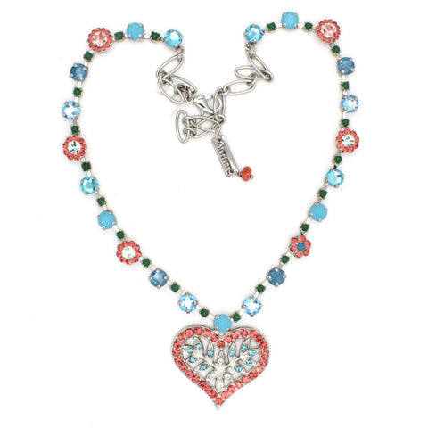 Bird Of Paradise Collection Crystal Heart Necklace