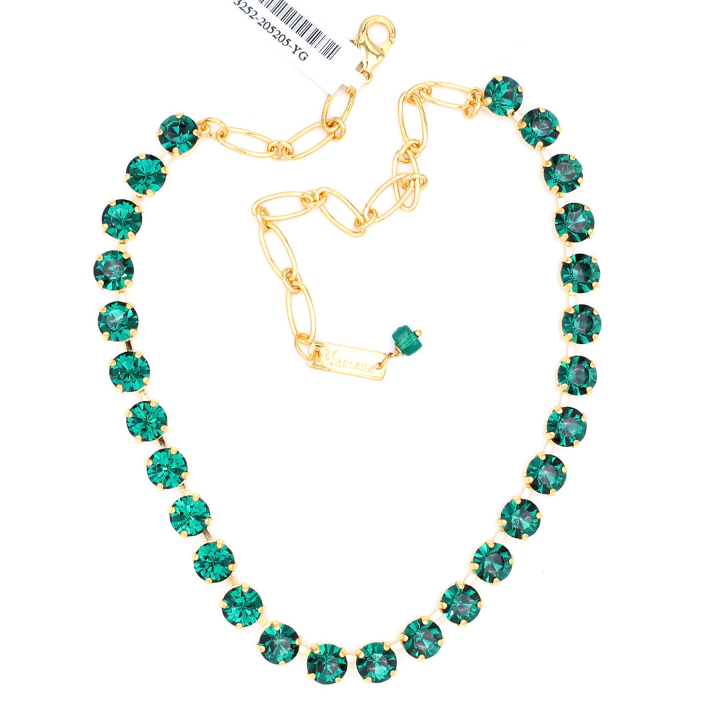 Emerald Medium Crystal Necklace in Gold