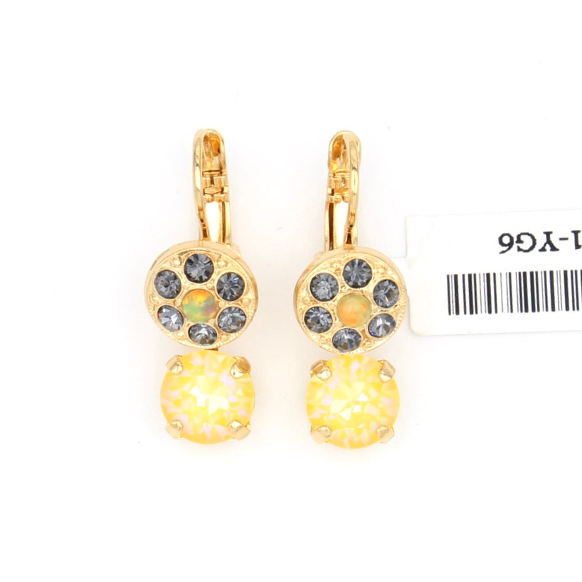 Painted Lady Collection Element and Crystal Earring in Yellow Gold