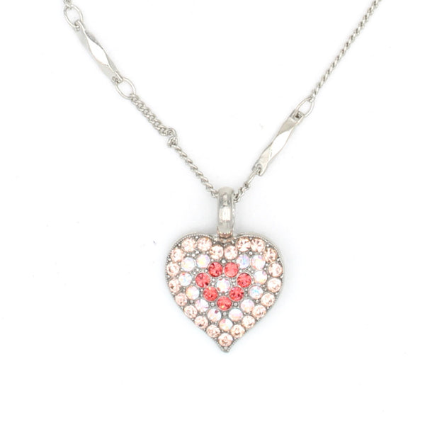 Lovers Coral Crystal Heart Pendant Necklace