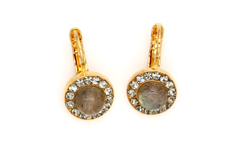 Labradorite Round Crystal Earrings in yellow gold