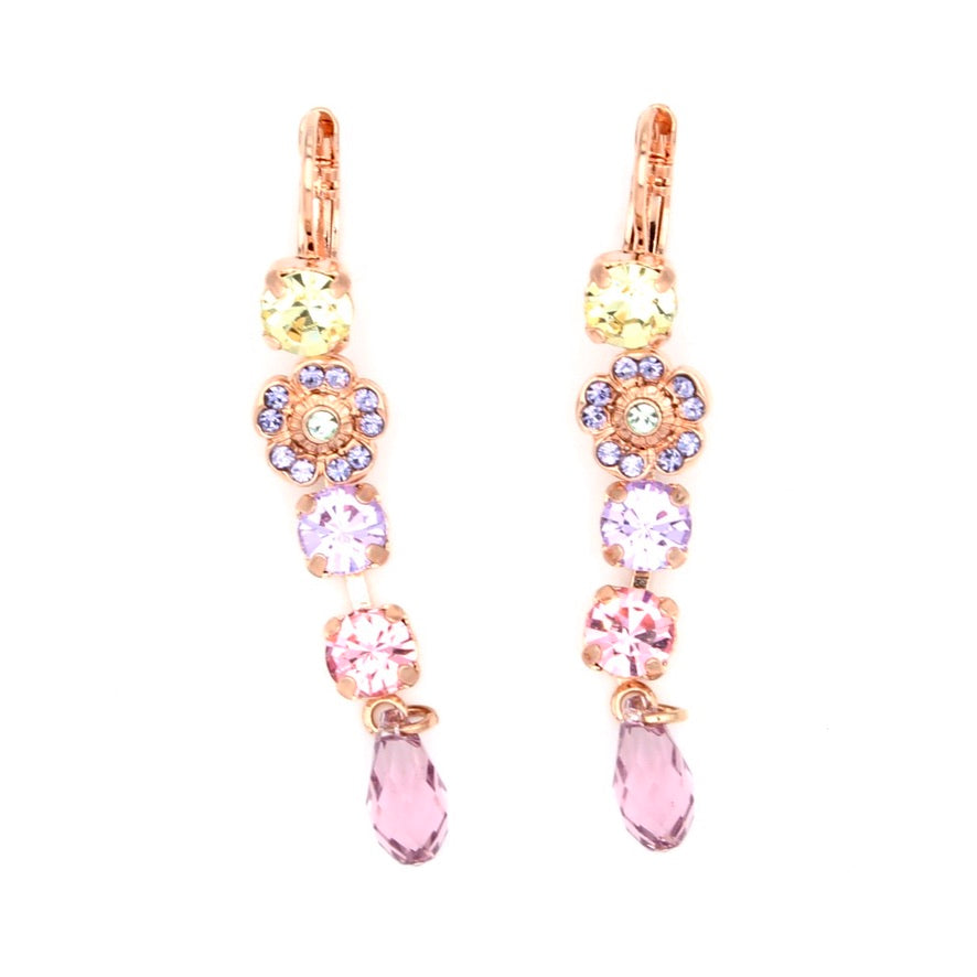 Purple Emperor Collection Flower Dangle Earrings in Rose Gold
