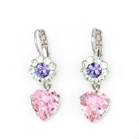 Purple Emperor Collection Small Flower Earrings with Heart Crystal